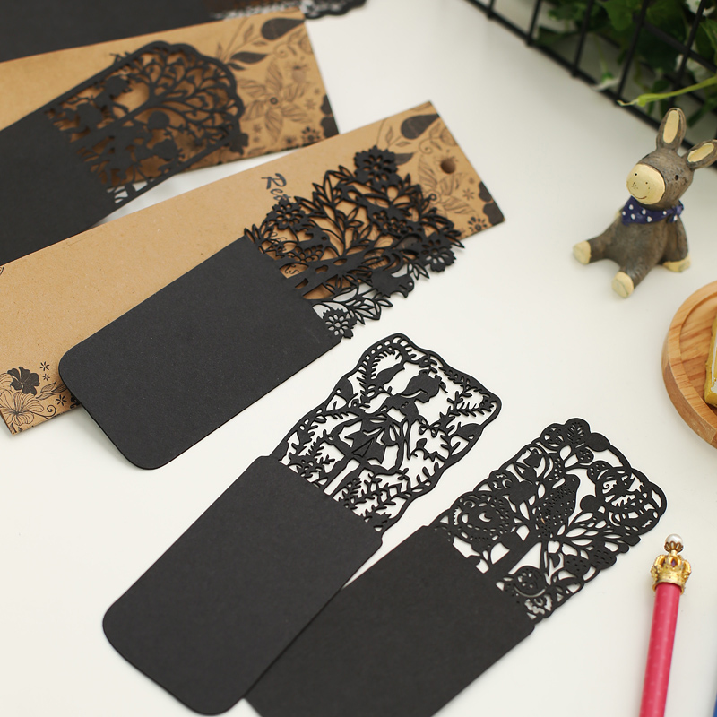 1pcs Free Shipping Personalized Book Marks Hollowing Card Black Bookmarks Exquisite Hollow Out Wood Bookmark For Books Tag Label(China (Mainland))