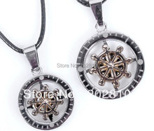 hot sales Turn compass lover's pendant  Alloy rudder lovers leather necklace(China (Mainland))
