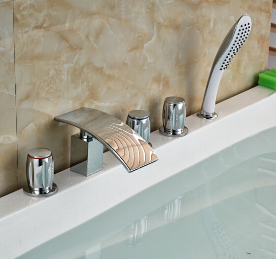 Фотография Chorme Finish 5PCS Bathtub Faucet W/Hand Shower Faucet Mixer Tap