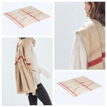 za 2016 Tartan Scarf Winter Plaid Scarf Beige Women Cozy Checked Blanket Oversized Wrap Shawl Hot sale