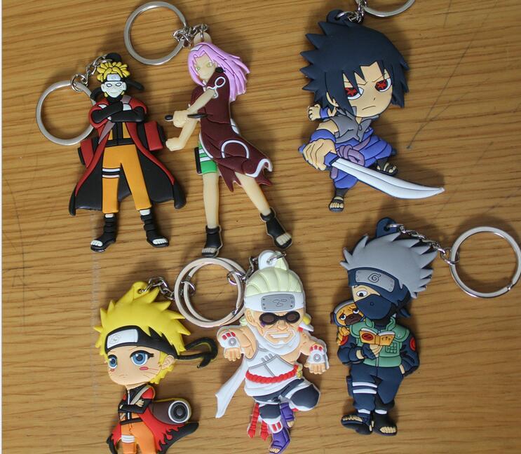 Buy 6 get 1 free Naruto anime cartoon figures Kakashi Sasuke action & toy figures pendant Key Chains Collection model toy K338(China (Mainland))