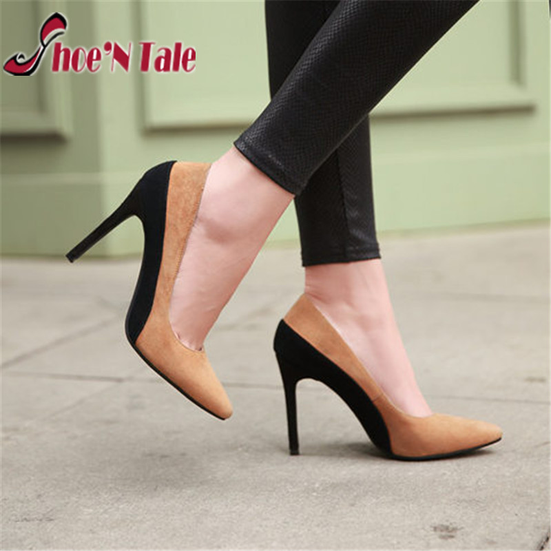 Shoe'N Tale women sexy pumps 2016 spring new dress shoes for women pointed toe zapatos mujer