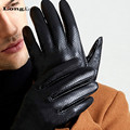 LongKeeper Luxury Men s Gloves Genuine Leather Gloves Breathable Wrist Finger Driving Glove Solid Mittens Top