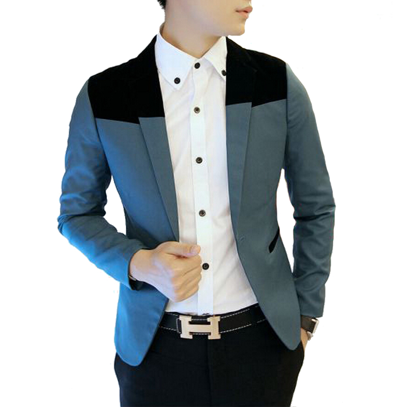 2016 Blazer Men Stylish Slim Fit Suit Jacket Single Row Two Button Knitting Coat Long Sleeve Outwear - Men's clothing boutique flagship store