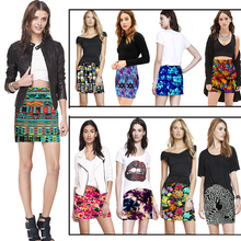 2016 Summer New Brand Casual Fashion Sexy Bodycon Slim Bandage Stretch Printed High Waist Mini Pencil Skirt
