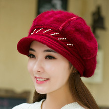 6 Colors Solid Fur Beret Hat Female Red Knit Beanie Beads Women Winter Fitted Hats Casual Luxury Brand Knitted Wool Cap M0607(China (Mainland))