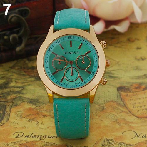 Popular Vintage Geneva Roman Numerals Analog Quartz Natural Color Classic Leather WristWatch NO181 5UVK 3Y3FD