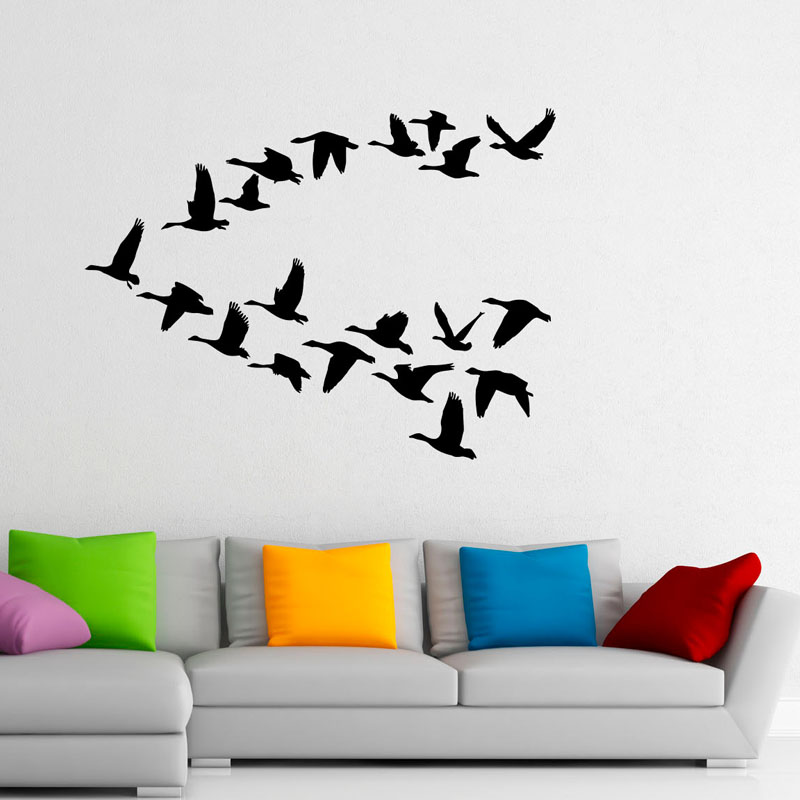 Flying Bird Wall Stickers Home Decor Flock Of Birds PVC Wall Stickers Animals Art Wall Murals For Kid Bedroom(China (Mainland))