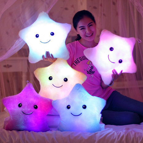 free shipping colorful luminous pillow Flash lucky star pillow toys for children LED Light Pillow Party Birthday Gift kids Toys(China (Mainland))