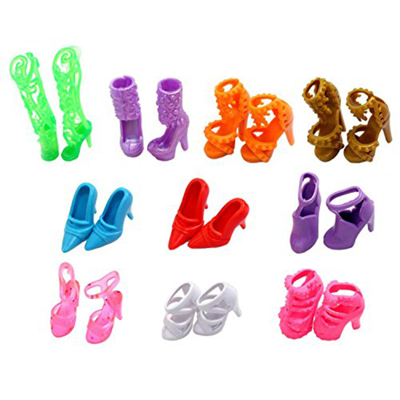 10 Pairs Doll Footwear Style Cute Colourful A number of Kinds Heels Sandals For Barbie Doll Combine Assorted Dolls Footwear Free Delivery
