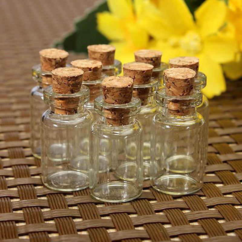 10pcs/Set Mason Jar Small Glass Bottle Vials Glass Jars Cheap Cork Stopper Make Wish Small Glass Bottle Size 24x12mm ZH210(China (Mainland))
