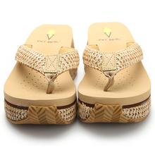 Summer Ladies Straw Braid Slippers Outdoor Fashion Wedge Beach Flip Flops Sweet And Sexy Women's Platform Sandals 8461