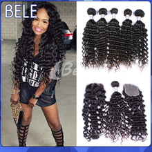 Peruvian Virgin Hair With Closure, Virgin Peruvian Curly Hair With Closure Free Part 3Pcs Human Hair Bundles With Lace Closure(China (Mainland))