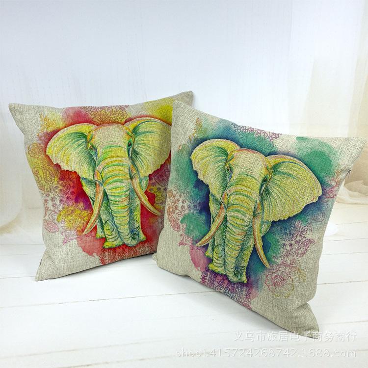 buy cotton linen square pillow case sofa decoration deer cus