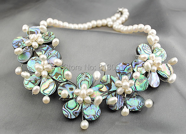 Free shipping!!!Shell Necklaces,Bling, Freshwater Pearl, with brass wire &amp; Abalone Shell, stainless steel lobster clasp, 38mm<br><br>Aliexpress