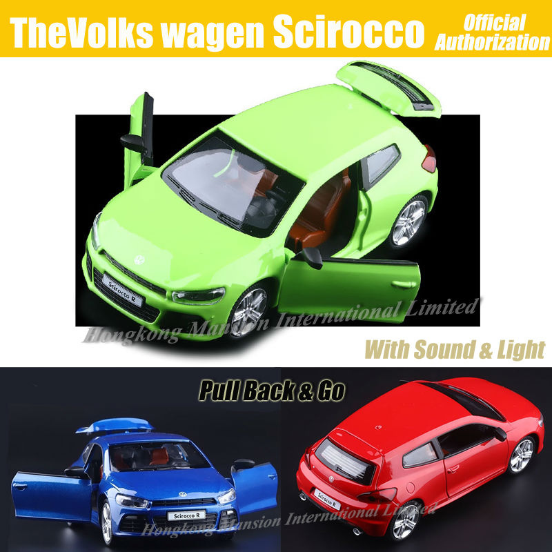 1:32 Scale Luxury Diecast Alloy Metal Car Model For TheVolks wagen Scirocco Collection Model Pull Back Toys Car - Green/Blue/Red(China (Mainland))