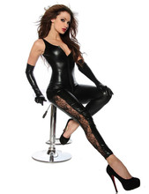 Buy C80439 Women Leather Jumpsuit Spandex Sexy Black Latex Catsuit Girls Halloween Costume Jumpsuits+Gloves