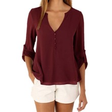 Wine Red Long Sleeve Chiffon Blouse Shirt Fall Deep V Neck Buttoned Back High Low Asymmetric Loose Casual 2016 Women Tops