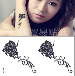 Waterproof free shippingWaterproof color cute rose water transfer s MM-135 stickers disposable tattoo(China (Mainland))