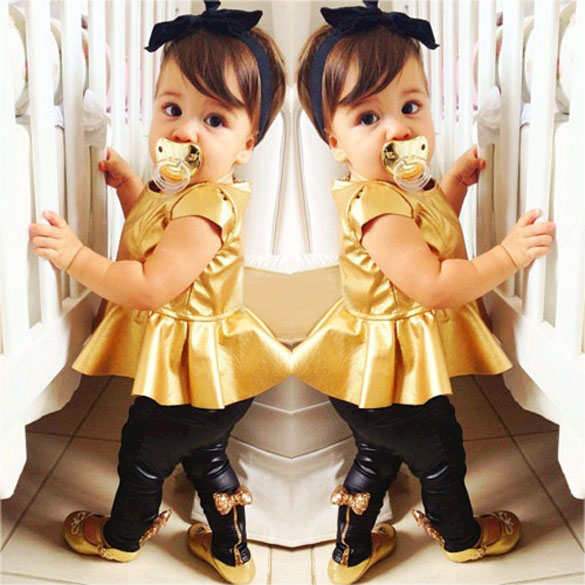 Hot Selling Fashion Baby Girls Kids Shirt Dress+Legging Pants Children Clothes Sets Suit Outfits Golden+Black New(China (Mainland))