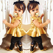 Retail Fashion Baby Girls Kids Shirt Dress + Legging Pants Children Clothes Sets Suit Outfits Golden+Black(China (Mainland))