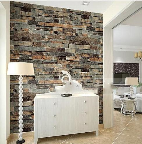 Modern stone brick 3d wallpaper dining room kitchen for 3d wallpaper for kitchen walls