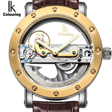 IK Self-Wind Automatic Mechanical Watches Men Top Brand Luxury Rose Gold Case Genuine Leather Skeleton Watch relogios masculino