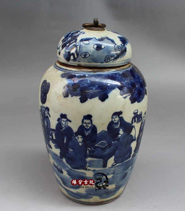 Jingdezhen porcelain blue and white storage tank general cans sealed cans character pot living room Decoration(China (Mainland))