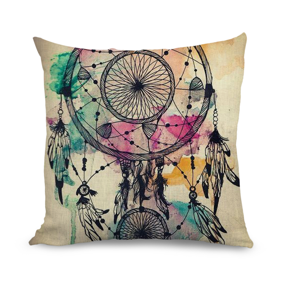 Wholesale 18x18 inch Cushion Cover Watercolour Design Decorative Pillow Covers for Sofa(China (Mainland))