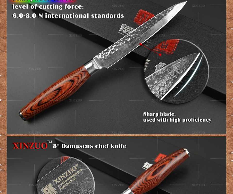 Buy 2 pcs kitchen knives set 73 layers Japanese VG10 Damascus kitchen knife very sharp chef utility knife wood handle free shipping cheap