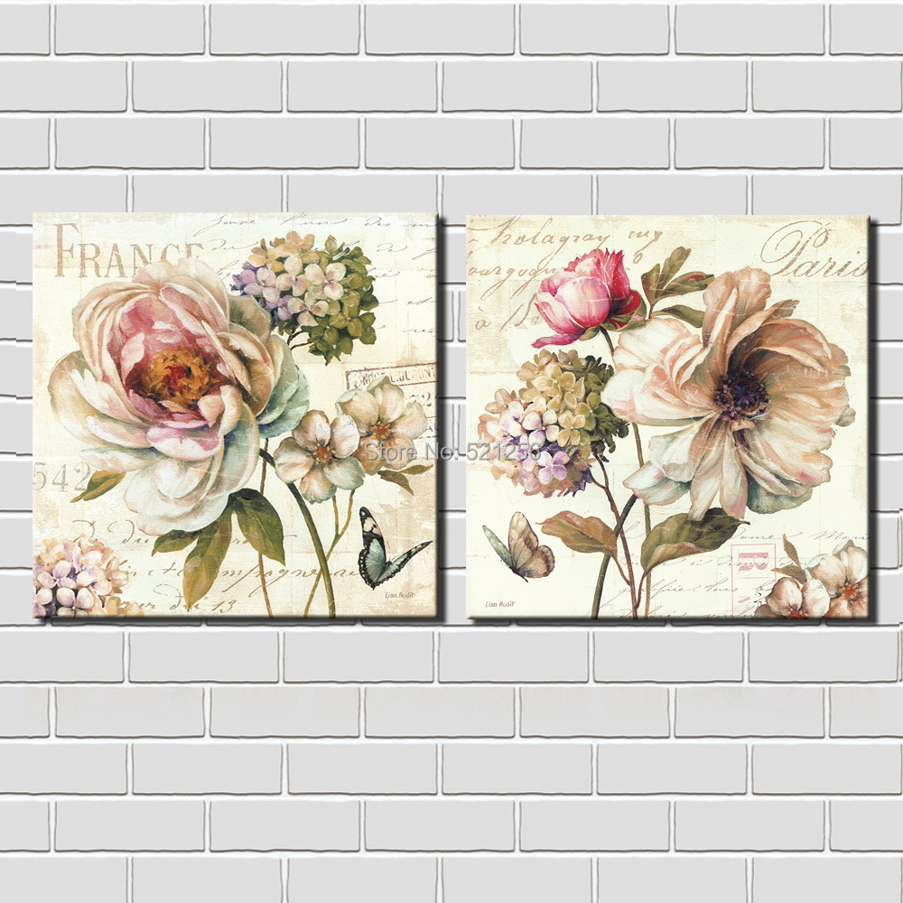 Modern Wall Art Home Decoration Printed Oil Painting Pictures Canvas Prints No Frame 2 Panel Large Flowers France Paris Decor(China (Mainland))