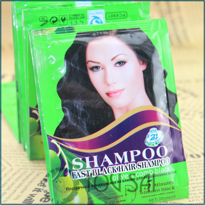france fast black hair shampoo  olive essence  oil a comb balck  5 minutes white becom black  10pcs<br><br>Aliexpress