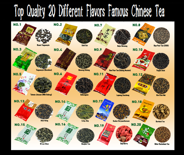 20 Different Flavors Famous Tea Chinese Tea including Milk Oolong Puer Black Green Herbal Flower Tea High Quality gift(China (Mainland))