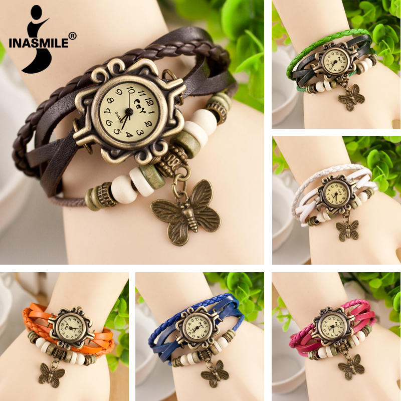 Minimum order 2PCS New Fashion leather Watch women Vintage Hand Knit bracelet watch butterfly pendant quartz watches(China (Mainland))