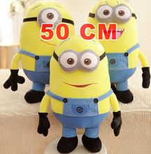 Free shipping despicable me 3D eyes plush Toy 50cm minions stuffed dolls jorge stewart dave minion plush toys HT499(China (Mainland))