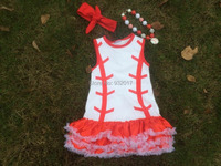 2015 hot sell baby girl baseball dress girls boutique sets whit dress clothing for girls with matching necklace and beadband