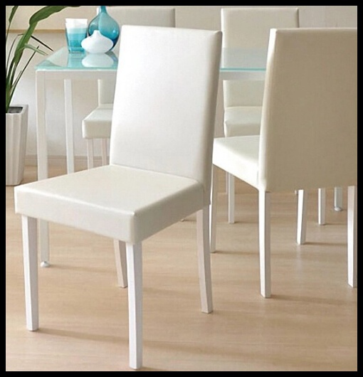 White Pu Leather Chair Cadeira Madeira Silla De Comedor Modern Dining Room Furniture(China (Mainland))