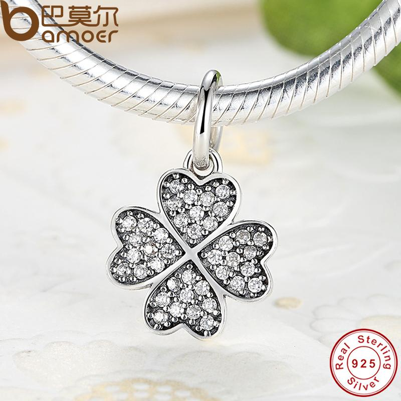 happiness Four-Leaf Clover Pendant Charms Fit Original Pandora Bracelet & necklace Pure 925 Silver Symbol Of Lucky In Love PS136(China (Mainland))
