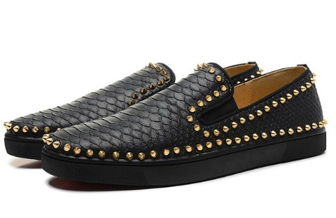 Fish Skin genuine leather France Luxury Designer Brands Red Bottom Shoes Flat Golden SPIKES Casual Shoes size 35-46(China (Mainland))