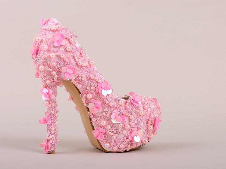 ซื้อ สีชมพูรองเท้าแต่งงานมุกลูกไม้รอบซูเปอร์ส้นสูงรองเท้าเจ้าสาวg litterหวานรองเท้าผู้หญิงเท้ารอบปั๊ม