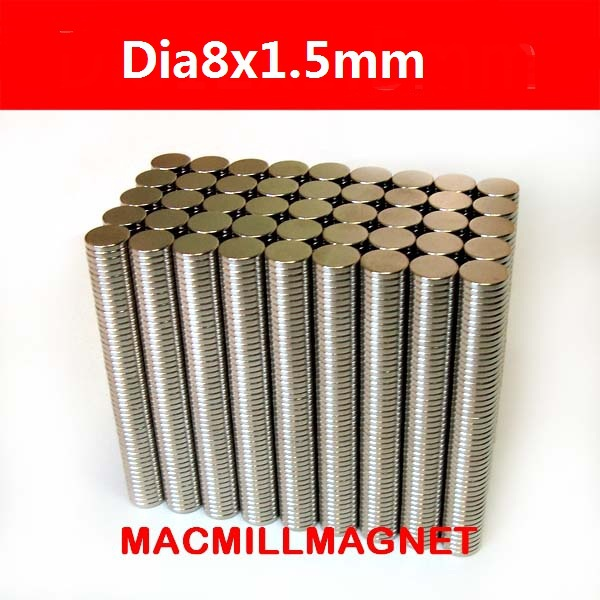 200pcs dia8x1.5mm Whole Sales Brand New Disc Rare-earth Neodymium Magnet Strong Permanent Disc Magnet, Free Shipping(China (Mainland))