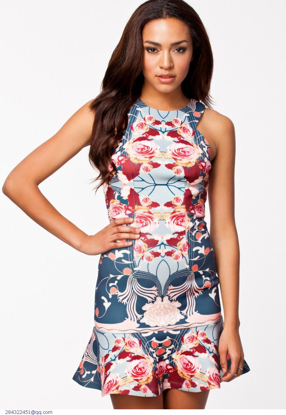 Женское платье Dear-lover roupas vestido estampado Flouncing Bodycon LC21600 женское платье dear lover vestido estampado 2015 lc21185 lc21188 lc21189