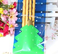Упаковочные пакеты Brand New Lovely Self/adhesive Plastic Elongated Biscuit Bags 100pcs/lot Dot Christmas Tree Print Opp Bag For Snack Package OR871679