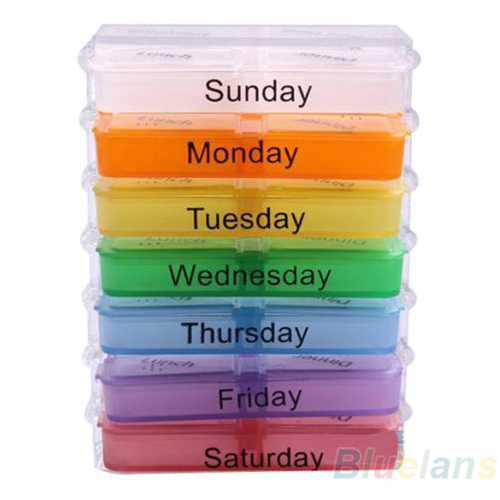 Medicine Weekly Storage Pill 7 Day Tablet Sorter Box Container Case Organizer Health Care 05DW(China (Mainland))