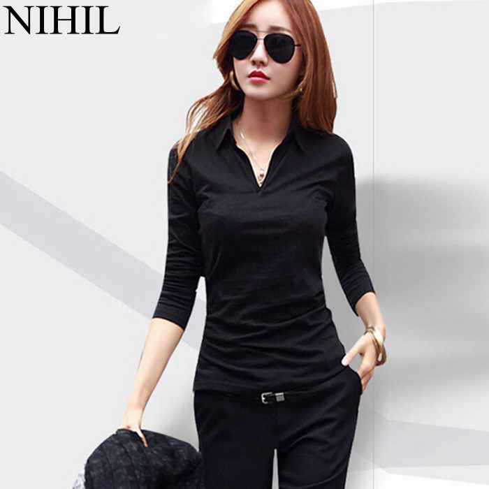 Plus Size Women Blouses Shirts 2015 Spring Fashion Body Blusas Femininas Turn-Down Collar Long Sleeve Casual Blouse Work Wear(China (Mainland))