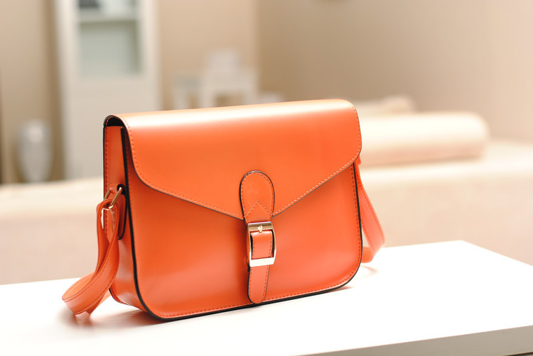 2Pcs Korea Style Envelope Single Shoulder Bag Orange PU Leather