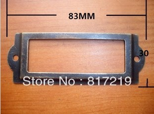 Antique Iron  Label Frame Card Holder  large 83*30mm Name sign shelf display filing sorting Library classification wood working