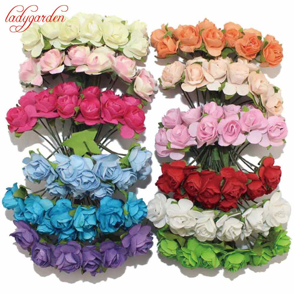 36pcs/lot Scrapbooking Artificial Mulberry Paper Rose Bouquet Wire Stem Wedding Artificial Flowers for Decoration Home Decor(China (Mainland))