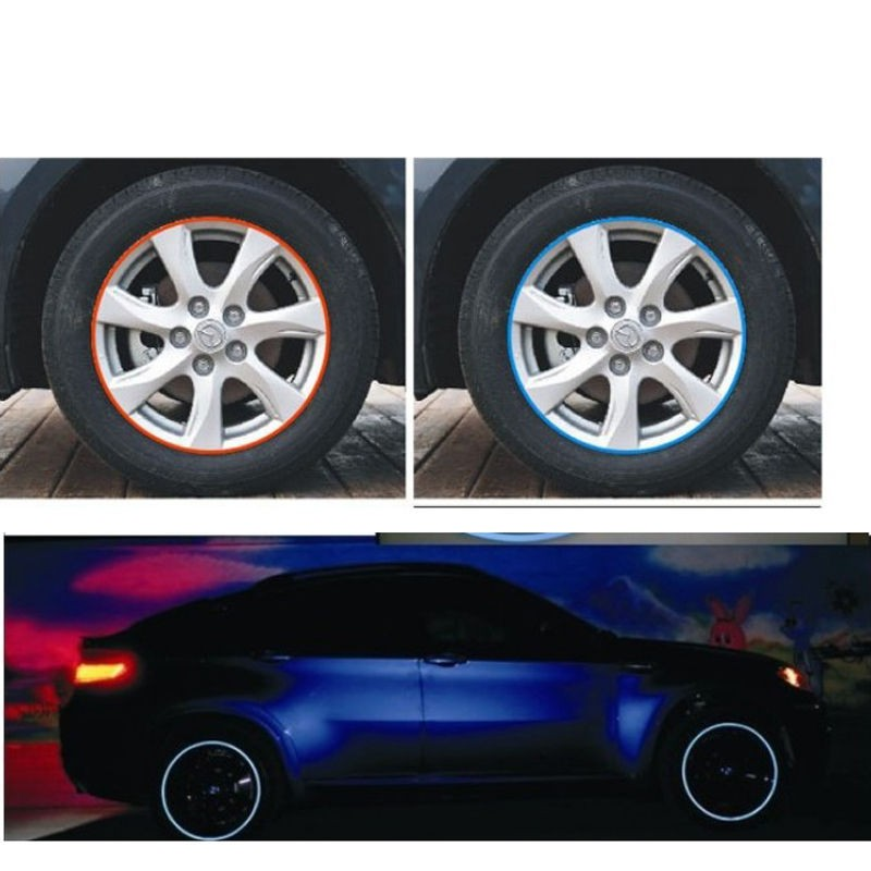 Reflective 16 Strips Car Motorcycle Bicycle Wheel Tire Rim Stickers Car-Styling Decals Decoration Stickers 2017 Hot!!!