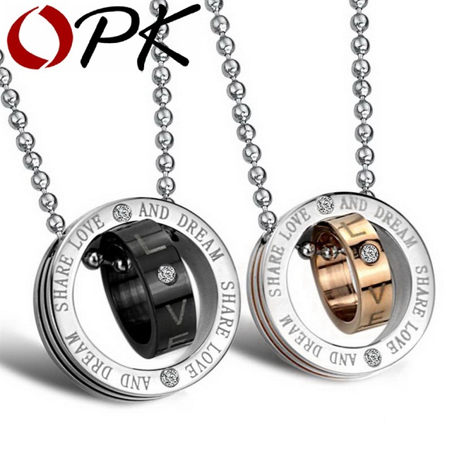 OPK JEWELRY Stainless Steel Men Jewelry Charm Pendant With chain Couple Pendant Necklaces For Women  764